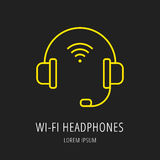 Vector Simple Logo Template wifi Headphones Stock Photo