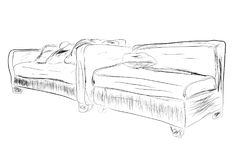 Simple Outline Sketch of untidy Sofa. Vector Simple Outline Sketch of untidy Sofa Royalty Free Stock Images