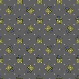 Vector simple pattern of boxes, gifts on a dark background. Used for wallpapers, wrapping paper, textiles. Holidays christmas and new year stock illustration