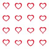 Vector simple red heart icons collection Stock Images
