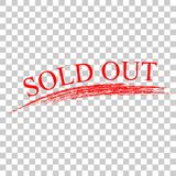 Simple red stamp and crayon effect sold out at transparent effect background. Vector simple red stamp and crayon effect sold out at transparent effect background Royalty Free Illustration