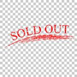 Simple red stamp and crayon effect sold out at transparent effect background. Vector simple red stamp and crayon effect sold out at transparent effect background Vector Illustration