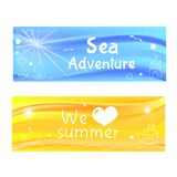 Vector simple sea beach banners Royalty Free Stock Images