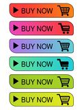 Vector simple shopping cart, trolley. Menu item buy now. Coloured buttons. Vector simple shopping cart, trolley. Menu item buy now. Coloured buttons Stock Images