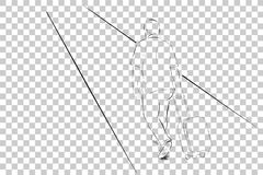 Simple Sketch of Walking Traveler, view from Back at Transparent Effect Background Royalty Free Stock Photography
