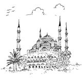 Simple sketchy blue mosque historical building, istambul turkey. Vector simple sketchy blue mosque historical building, istambul turkey Vector Illustration