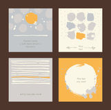 Vector simple square handdrawn cards with circles, stripes and various design.  Royalty Free Stock Image