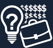 Office case, dollar signs and a light bulb with a question mark as an idea symbol on a dark blue background Royalty Free Stock Image
