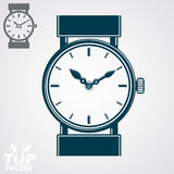 Vector simple wristwatch illustration, detailed quartz watch wit Royalty Free Stock Photography