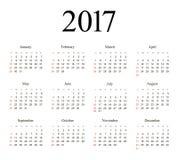 Vector Simple 2017 year calendar Royalty Free Stock Image
