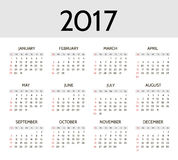 Vector Simple 2017 year calendar Royalty Free Stock Photos
