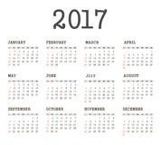 Vector Simple 2017 year calendar. Week starts from Sunday, eps 10 royalty free illustration