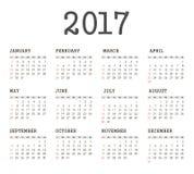 Vector Simple 2017 year calendar Stock Photography