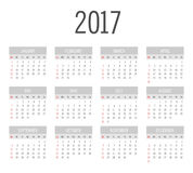 Vector Simple 2017 year calendar. Week starts from Sunday, eps 10 Stock Photography