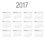 Vector Simple 2017 year calendar Royalty Free Stock Images
