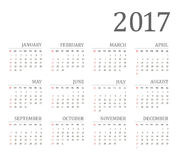 Vector Simple 2017 year calendar. Week starts from Sunday, eps 10 Stock Photos