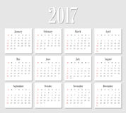Vector Simple 2017 year calendar. Week starts from Sunday, eps 10 Royalty Free Stock Photos