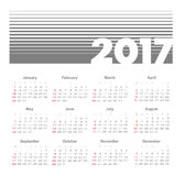 Vector Simple 2017 year calendar. Week starts from Sunday, eps 10 Royalty Free Stock Photo