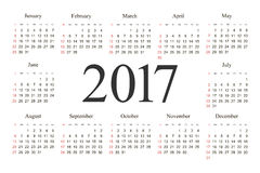 Vector Simple 2017 year calendar. Week starts from Sunday, eps 10 stock illustration