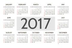 Vector Simple 2017 year calendar Stock Photos