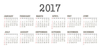 Vector Simple 2017 year calendar. Week starts from Sunday, eps 10 Stock Photo