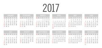 Vector Simple 2017 year calendar Stock Photo