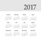 Vector Simple 2017 year calendar. Week starts from Sunday, eps 10 Royalty Free Stock Image