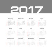 Vector Simple 2017 year calendar. Week starts from Sunday, eps 10 Stock Image