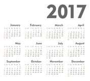 Vector Simple 2017 year calendar. Week starts from Sunday, eps 10 Royalty Free Stock Images