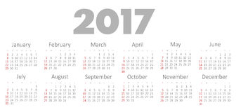 Vector Simple 2017 year calendar Royalty Free Stock Photo