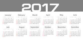 Vector Simple 2017 year calendar. Week starts from Sunday, eps 10 Stock Images