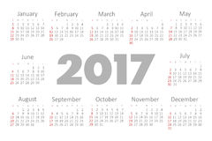Vector Simple 2017 year calendar Royalty Free Stock Image