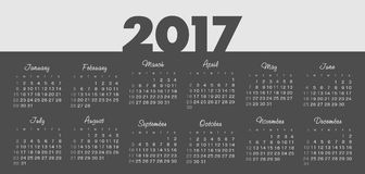 Vector Simple 2017 year calendar. Week starts from Sunday, eps 10 Royalty Free Stock Photography