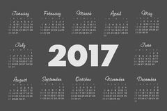 Vector Simple 2017 year calendar Stock Image