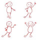 Set of wax crayon like kid`s hand drawn funny doodle man. Stock Photography