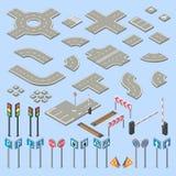 Vector sinais de estrada 3d isométricos, coleção dos elementos Fotos de Stock Royalty Free