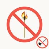 Vector sinal ardente do fósforo O grupo de sinais proibitivos com fósforo ardente em um círculo cruzou para fora o quadro vermelh ilustração do vetor