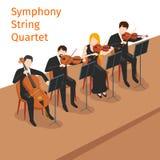 Vector sinfónico del cuarteto de cuerda de la orquesta stock de ilustración