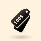 Vector Single Icon - Price Tag. Vector Single Black Icon - Tag with Price vector illustration