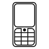 Vector Black Outline Icon - Cellphone with Keyboard Royalty Free Stock Image