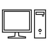 Vector Single Black Outline Icon - Monitor and System Unit Royalty Free Stock Image