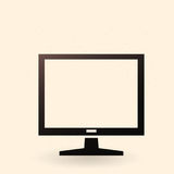 Vector Black Silhouette Icon - Flat LCD Monitor. Vector Single Black Silhouette Icon - Flat LCD Monitor Stock Image