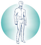 Vector Single Business standing Man. Royalty Free Stock Photo