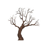 Vector Single Cartoon Brown Bare Tree. On White Background Stock Images
