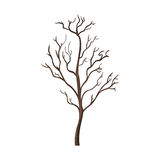 Vector Single Cartoon Brown Bare Tree Stock Image