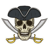 Vector Single Cartoon Pirate Skull in hat with Cross Swords. Stock Photography
