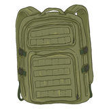Vector Single Cartoon Tactical Army Backpack Royalty Free Stock Photography