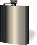 Vector single hip flask on white background Royalty Free Stock Photography