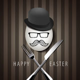 Vector Single Hipster Egg on with Knife and Fork on Brown Backgr Royalty Free Stock Image