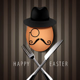 Vector Single Hipster Egg on with Knife and Fork on Brown Backgr Stock Photos